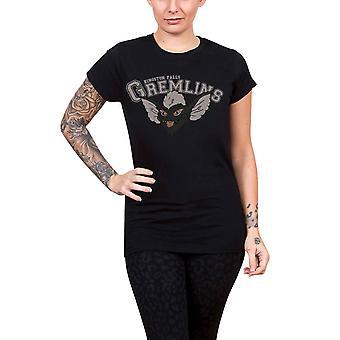 Gremlins T Shirt Kingston Falls logo new Official Womens Skinny Fit Grey