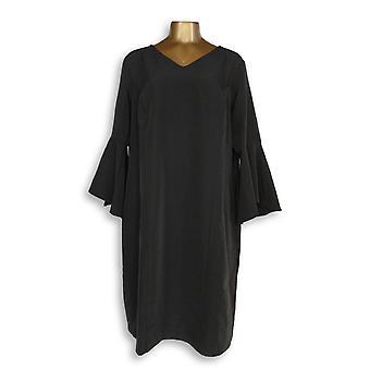 الحسناء من كيم Gravel زائد اللباس V-الرقبة اللباس جرس أسود A309205