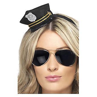 Womens Mini Cop Hat hoofdband Fancy Dress accessoire
