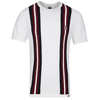 Pretty Green Twin Stripe Stone White Knitted T-Shirt