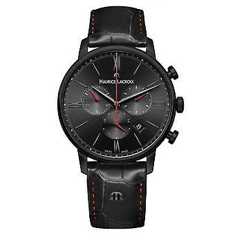 Maurice LaCroix ELIROS Chronograaf zwart lederen Quartz mannen ' s horloge