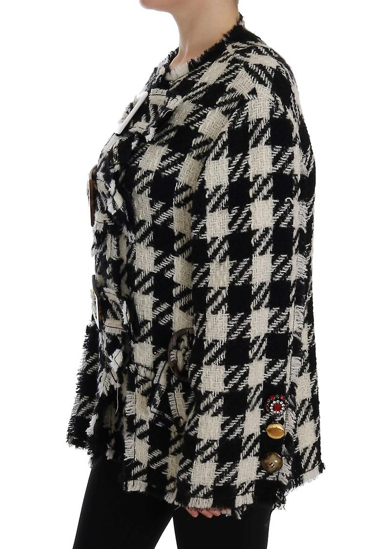 Black White Wool Knitted Crystal Jacket