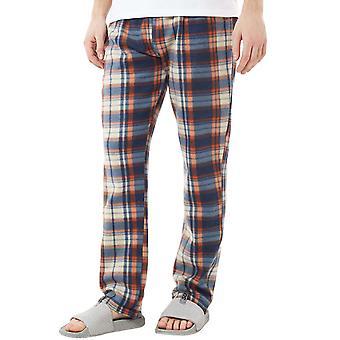 Brave Soul Mens Austin Full Length Velo Tartan Pyjama Bottoms - Azul / Laranja