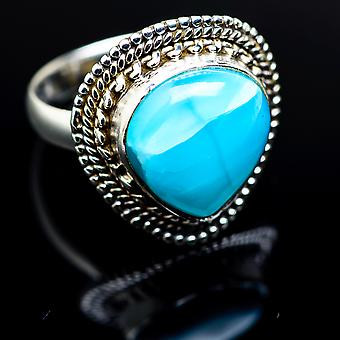 Larimar Ring 8 (925 Sterling Silver)  - Handmade Boho Vintage Jewelry RING977556