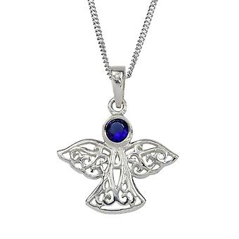 Celtic Eternity Knotwork Angel September Birthstone Necklace Pendant - A Sapphire Stone - Includes A 18