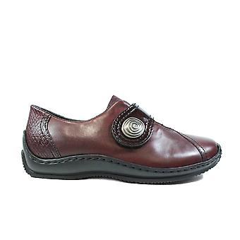 Rieker Celia L1760-35 Burgundy Leather/Patent Leather Womens Rip Tape Shoes