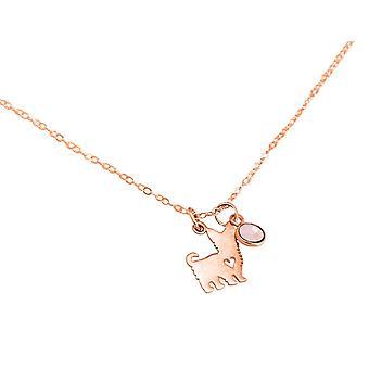 Collier GEMSHINE Yorkshire Terrier chien rose quartz 925 argent, plaqué or, rose