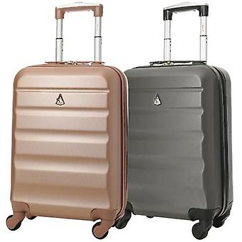 Aerolite (55x35x20cm) lightweight hard shell cabin hand luggage (rose gold + charcoal set)