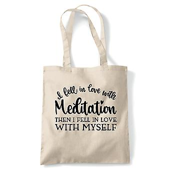 In Love With Meditation Tote | Meditate Meditation Peace Calm Quiet Mind Spirit | Reusable Shopping Cotton Canvas Long Handled Natural Shopper Eco-Friendly Fashion