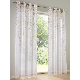 Heine Home (2 Stck.) Vorhang mit Digital-Druck halbtransparenter Dekostore weiß/taupe mit Ösen