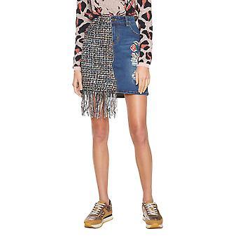 DESIGUAL γυναίκες ' s Νάντια denim & κρόσια φούστα τουίντ