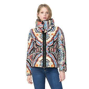 Desigual by L Women's Multicoloured Quilted Rebeca Coat