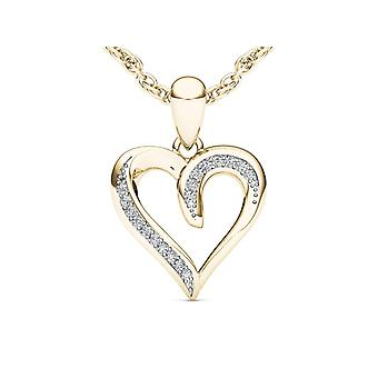 Igi certified solid 10k yellow gold 0.05 ct diamond heart pendant necklace