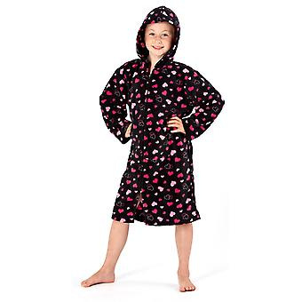 Girls Hearts Print Fleece Winter Hooded Lounger Nighty