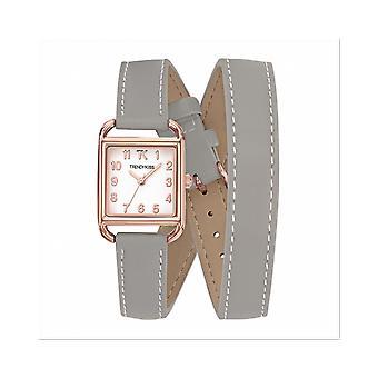 Trendikäs Kiss Watch TRG10115-01-Waltz Bo Tier Steel Dor Steel vaaleanpunainen nahka ranne koru harmaa Cadran valkoiset naiset