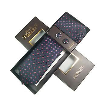 Tie, Cufflink & Hankerchief Set Exlusive Milan Collection 100% Hand Made Navy Blue With Purple Diamonds