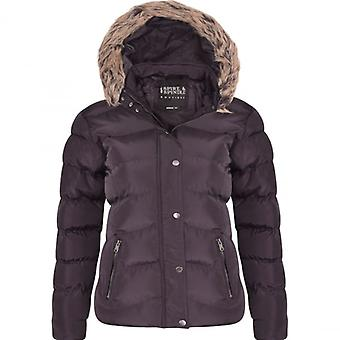 Spindle Womens Ladies Spindle Designer Faux Fur Hooded Short Jacket Quilted Puffer Padded Coat Zip Pockets