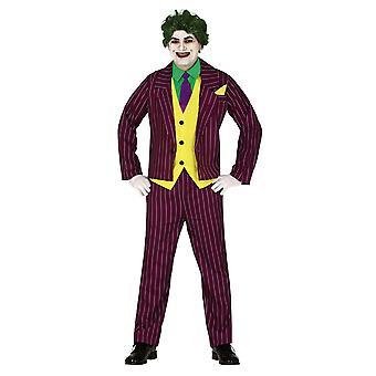 Mens Crazy Villain Joker Fancy Dress Kostuum