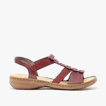 Rieker 62850-35 Ladies Slip On Sandals Wine