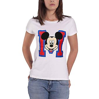 Official Womens White Mickey Mouse T Shirt Varsity M Face Disney new Skinny Fit