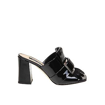 Sergio Rossi A89050mviv011000 Women's Black Patent Leather Slippers