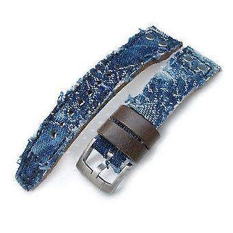 Strapcode fabric watch strap 21mm, 22mm miltat heavy distressed blue denim watch strap, rivet military strap
