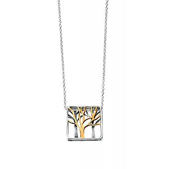 Joshua James Serenity Silver & Yellow Gold Plated Tree Of Life Necklace