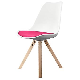 Fusion Living Eiffel Inspired White And Bright Pink Dining Chair With Square Pyramid Light Wood Legs