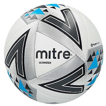 Mitre Ultimatch Match Football Soccer Ball White/Silver/Blue