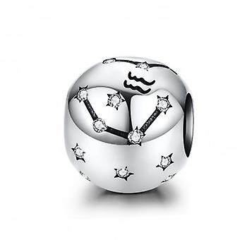 Sterling Silver Charm Zodiac Sign Aquarius With Zirconia - 6175