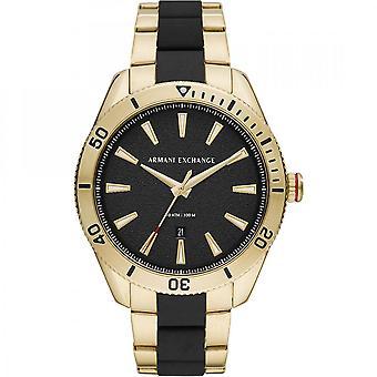 Armani Exchange Mens 'Enzo' Round Black Dial Gold Plated/Black Bracelet Watch AX1825