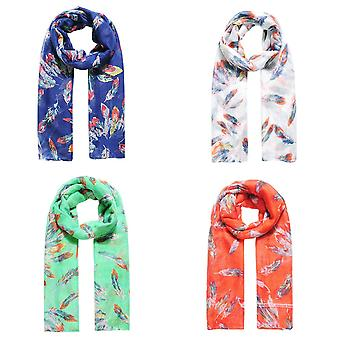 Jewelcity Womens/Ladies Scattered Feather Print Scarf