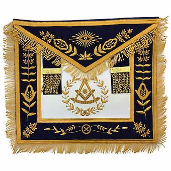 Masonic lodge past master gold handmade embroidery apron navy-nanba