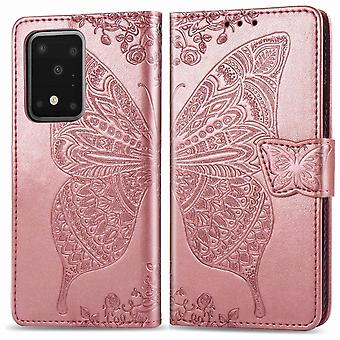 Voor Samsung Galaxy S20 Ultra Case, Butterfly PU Lederen Portemonnee Cover met Lanyard & Stand, Rose Gold