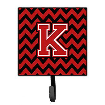 Letter K Chevron Black and Red   Leash or Key Holder