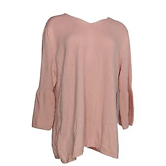 H by Halston Women's Sweater V-neck Bell Sleeve Tunic Pink A297074