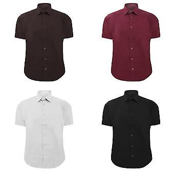 Russell coleção Mens curto manga fácil cuidado cabidas camisa