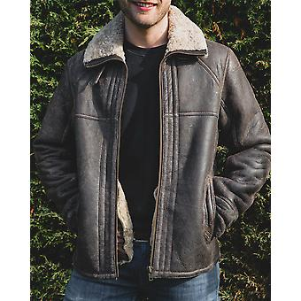 Nordvek Mens Sheepskin Jacket - Aviator Nappa Leather Flying Bomber Coat # 702-100