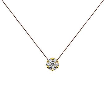 Choker Flower Cluster 18K Gold and Diamonds, on Thread - Yellow Gold, WarmGrey
