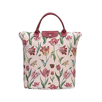 Marrel's tulip white foldaway shopping bag by signare tapestry / fdaw-jmtwt