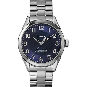 TW2T46100, Timex Men's TW2T46100 Briarwood 40mm Silver-Tone/Blue Stainless Steel Expansion Band Watch