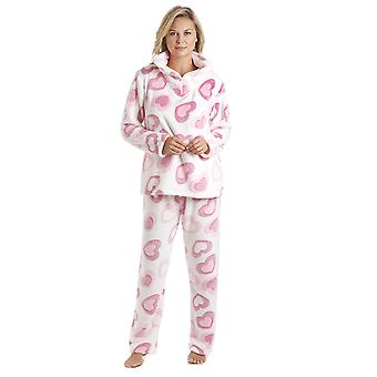 Camille valkoinen kätevää Fleece vaaleanpunainen sydän tulosta Pyjama setti