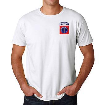 US Army 82nd Airborne Division geborduurd Logo - Ringspun katoen T Shirt