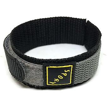 Velcro watch strap grey with stainless steel ring 14mm and 18mm