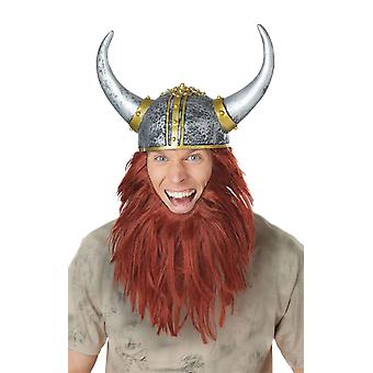 Viking Warrior Helmet with Hair History Fancy Dress Costume Accessory