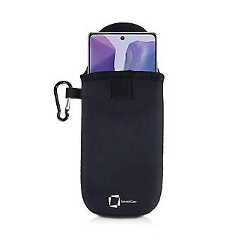 مبتكر النيوبرين حقيبة حقيبة الغلاف مع Carabiner لسامسونج غالاكسي ملاحظة 20 - أسود