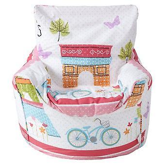Ready Steady Bed Children's Bean Bag Chair Paris Design Ready Filled