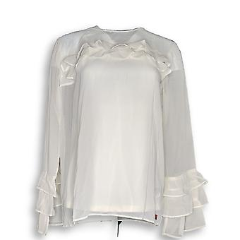 Peace Love World Women's Top Ruffle Sleeve Blouse w/ Tank Ivory A295090