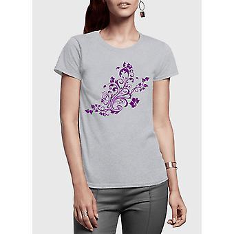Swirl purple half sleeves women t-shirt
