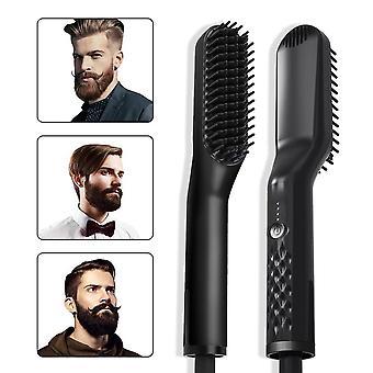 3 In1 Quick Heater Beard Straightener Hair Brush Ionic Electric Straightener Comb